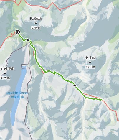 Karte / 35.09 Walserweg Graubünden Etappe 9: Innerferrera - Juf