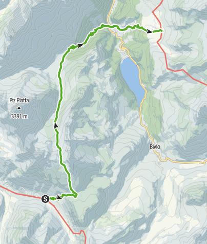Kaart / 35.10 Walserweg Graubünden Etappe 10: Juf - Alp Flix