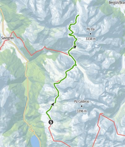 Cartina / 35.11 Walserweg Graubünden Etappe 11: Alp Flix - Chamonas d'Ela
