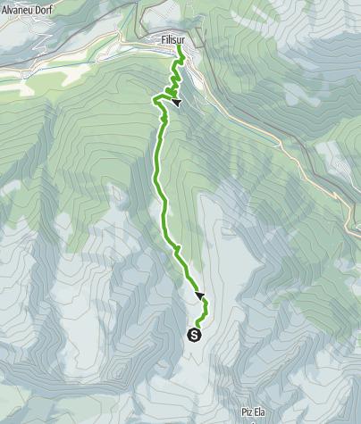 Kaart / 35.12 Walserweg Graubünden Etappe 12: Chamonas d'Ela - Monstein