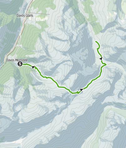 Karte / 35.14 Walserweg Graubünden Etappe 14: Monstein - Sertig Dörfli