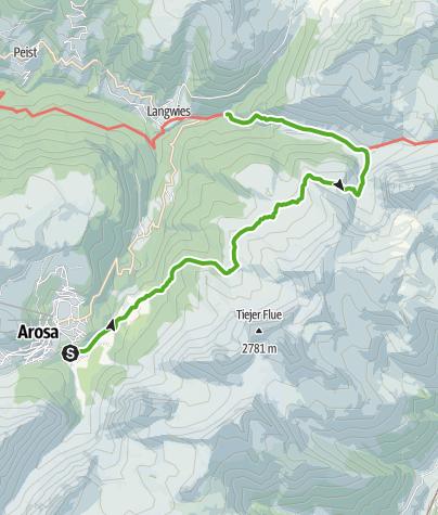 Karte / 35.17 Walserweg Graubünden Etappe 17: Arosa - Langwies