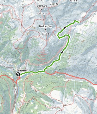 Cartina / 35.18 Walserweg Graubünden Etappe 18: Langwies - Strassberg, Fondei