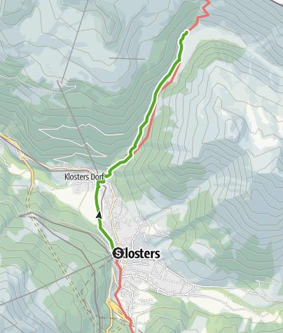 Cartina / 35.20 Walserweg Graubünden Etappe 20: Klosters - Schlappin Dörfji Normalweg