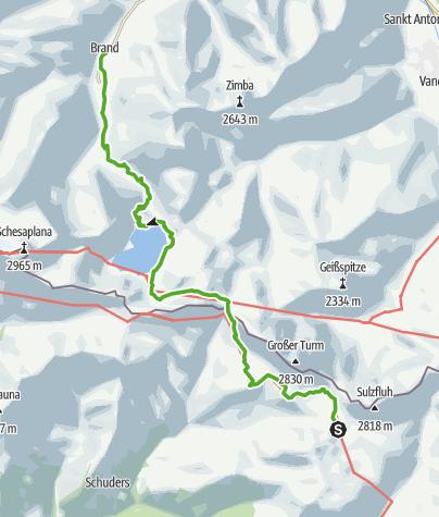 Cartina / 35.23 Walserweg Graubünden Etappe 23: Carschinahütte - Brand (A)