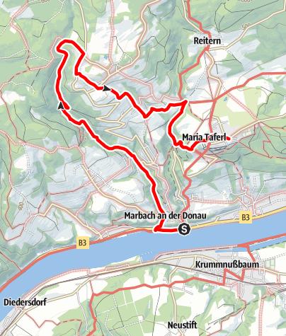 Map / Nibelungengau long distance trail 3: Marbach - Maria Taferl