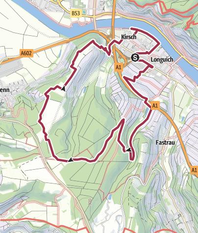 Kaart / Moselsteig Seitensprung Longuicher Sauerbrunnen