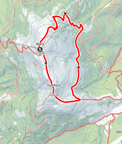 Karte / Rundwanderung Aineck-Theuerlnock- Kösselbacher-, Branntweiner Hütte-Aineck