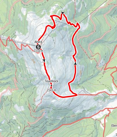 Karte / Rundwanderung Aineck: Teuerlnock, Kösselbacheralm, Branntweinerhütte, Aineck