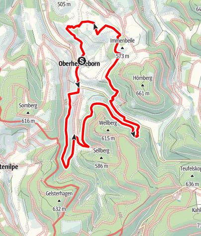 Karte / Golddorf-Route Oberhenneborn mit Bienen-Lehrpfad