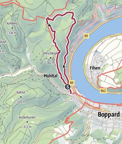 Carte / Traumschleife Mittelrhein-Klettersteig