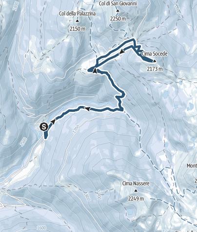 Kaart / Toerskiën Passo 5 Croci en Cima Socede: het hart van Lagorai