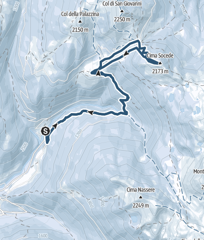 Karte / Skitour nach Cinque Croci Pass und Socede Gipfel