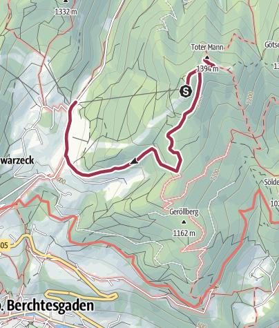 Karte / Wanderung auf das Hochschwarzeck