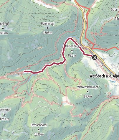 Karte / Wanderung zur Harbachalm