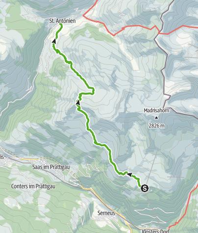 Karte / Höhenweg von der Madrisa übers Jägglischhorn nach St. Antönien