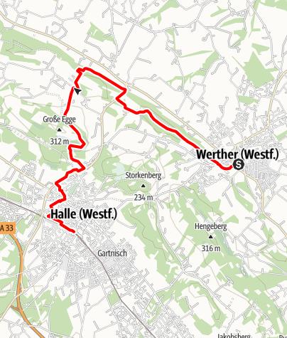 Karte / Weg für Genießer - Etappe Werther-Halle