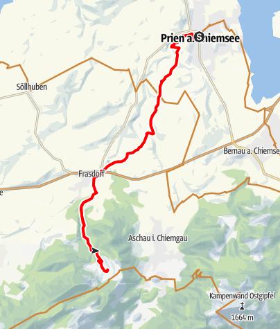Karte / Mountainbike Tour auf die Frasdorfer Hütte