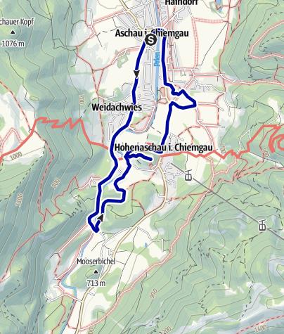 """Karte / Wandern auf dem Aschauer Kapellenweg: Rundweg 2 """"Von der Pfarrkirche in Richtung Süden und zurück"""""""