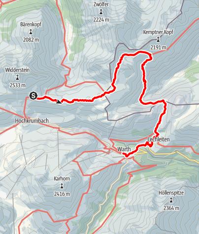 Karte / Alpine Hüttenwanderung Bregenzerwald | Widdersteingebiet (Etappe 3)