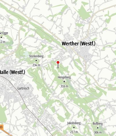 """Karte / Rastplatz an der Arminiusquelle in Werther an dem Wanderweg """"Weg für Genießer - 5 Sinne erleben am Teutoburger Wald"""""""
