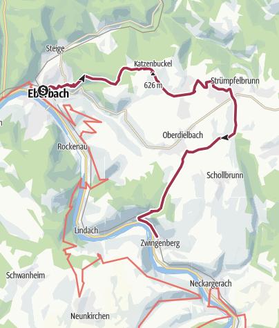 Karte / Eberbach über den Katzenbuckel nach Zwingenberg