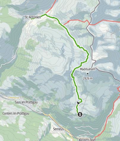 Karte / Höhenweg von der Madrisa übers Rätschenjoch nach St. Antönien