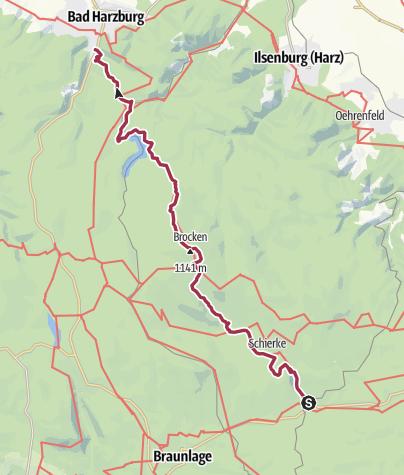 Karte / Wege zum Brocken - Teufelsstieg