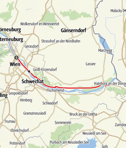 Karte / Donauradweg Etappe 8 Nordufer: Wien/Nordbrücke - Hainburg