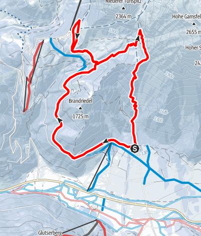 Karte / Skitour Kraml-Lahn via Skiweg und Brandriedel