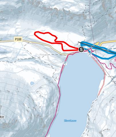 """Map / Nr. 1: Kleine """"Höhenloipe 1"""" Silvretta-Bielerhöhe Runde (klassisch & skating)"""