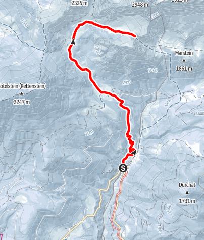 Karte / Skitour Sulzenhals mit Variante Tor