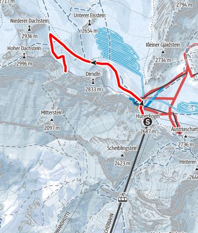 Karte / Skitour Hunerkogel - Dachsteinwarte