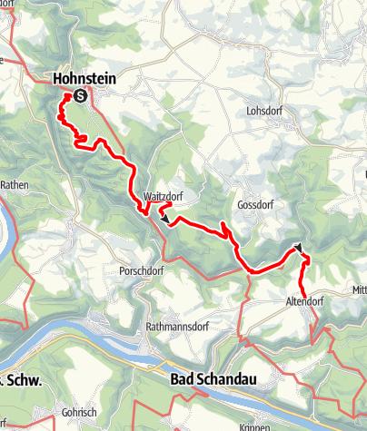 Karte / Malerweg, Etappe 3: Von Hohnstein bis Altendorf