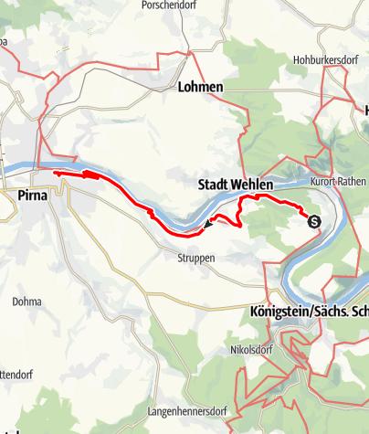 Karte / Malerweg, Etappe 8: Von Weißig bis Pirna
