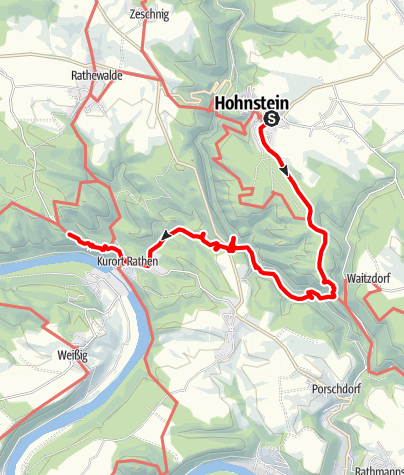 Karte / Hohnstein - Brand - Rathen - Bastei