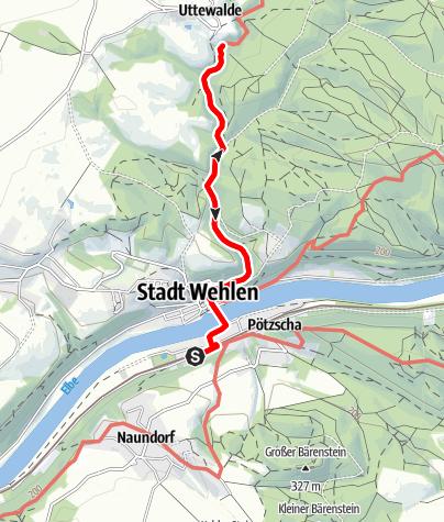 Karte / Rollstuhl-Tour von Wehlen zum Felsentor im Uttewalder Grund