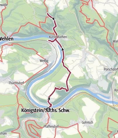 Karte / Wanderung von Königstein über den Lilienstein nach Kurort Rathen