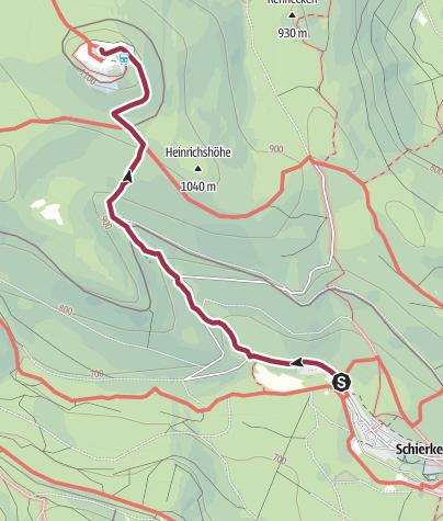 Karte / Wege zum Brocken - Aufstieg von Schierke