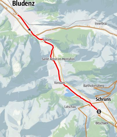 Karte / Illradweg Schruns - Bludenz