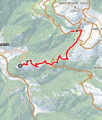 Mapa / Mit dem Bike von Flitt zur Kreuzwiesenhütte