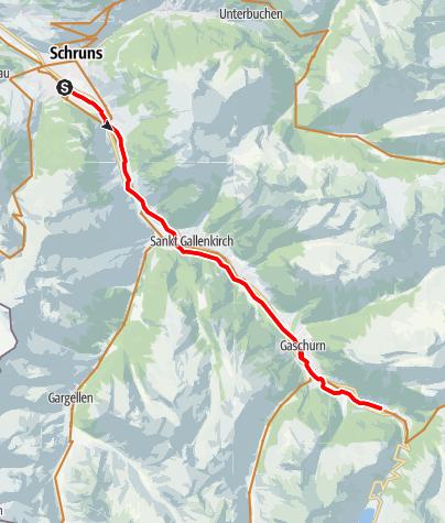 Karte / Illradweg Schruns - Partenen