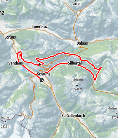 Karte / Sonnenbalkon Tour Bartholomäberg - Silbertal