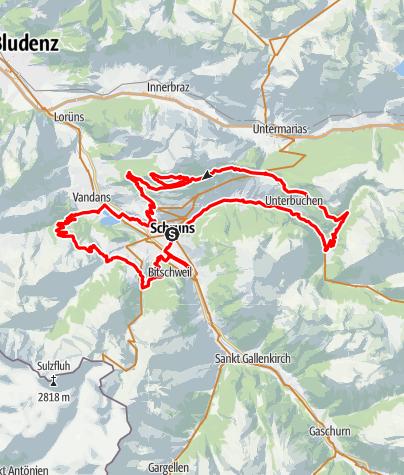 Karte /  M2 - anspruchsvoll Montafon Mountainbike Marathon // Teilstrecken nur am Renntag befahrbar!