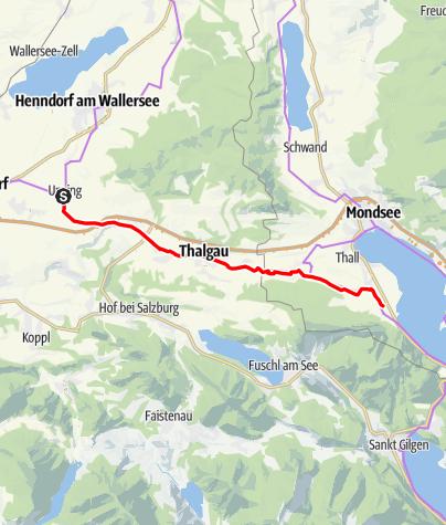 Karte / Mozart-Radweg Etappe 02: Unzing (bei Eugendorf) - St. Lorenz / Abstecher 1.Teil