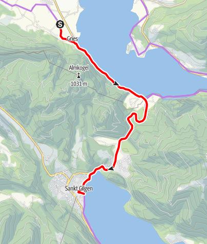 Karte / Mozart-Radweg Etappe 03: St. Lorenz - St. Gilgen / Abstecher 2.Teil