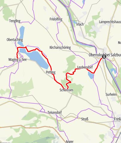 Karte / Mozart-Radweg Etappe 06: Laufen - Waging am See