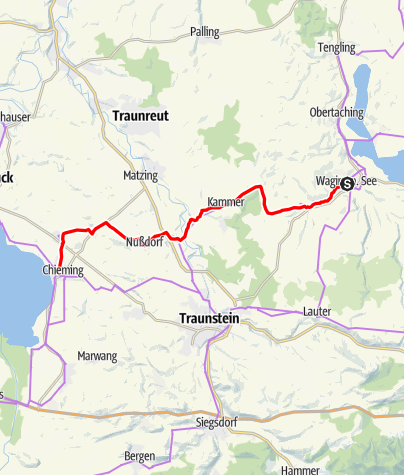 Map / Mozart Cycle Path – Stage 07:  Waging am See – Chieming am Chiemsee