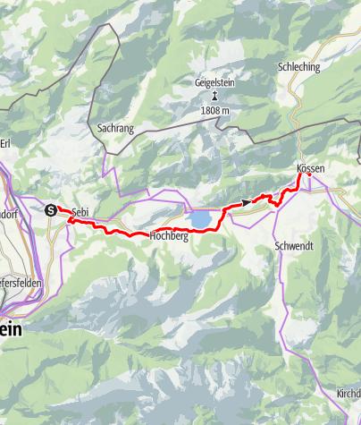 Karte / Mozart-Radweg Etappe 12: Niederndorf - Kössen