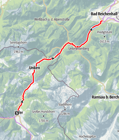 Map / Mozart Cycle Path – Stage 14: Lofer – Bad Reichenhall